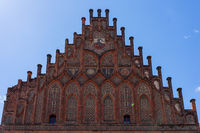 Beautiful facade of medieval city hall. Juterbog is a historic town in north-eastern Germany