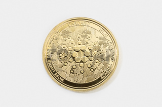 Cardano coin cryptocurrency isolated on white background