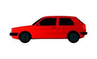 Red Golf sedan car on white background - Vector