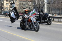 Bikers celebrated the opening of motorcycling season by ride over city in Sofia, Bulgaria