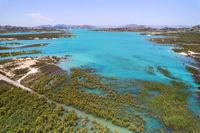 Drone point of view Embalse de La Pedrera reservoir. Spain