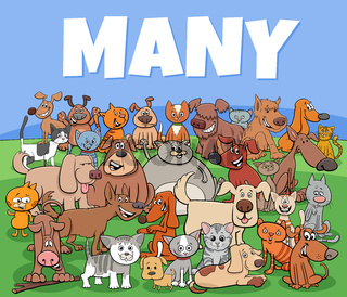 many dogs and cats cartoon characters group