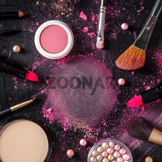 Make-up square design template with brushes, pearls, and powder