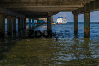 A ferry at the Sellin Pier, Mecklenburg-Western Pomerania, Germany