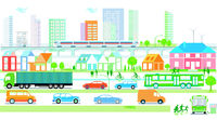 City silhouette with traffic and people, community, city map illustration