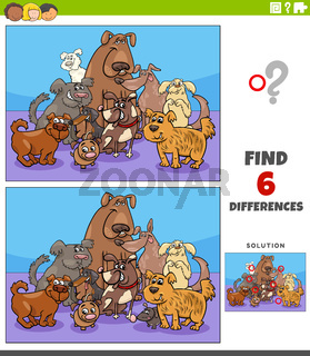 differences educational game with cartoon dogs characters