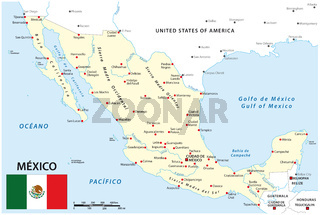 Map of Mexico with national borders, main cities and rivers