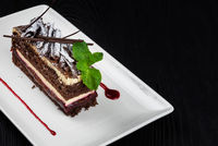 Plate with piece of delicious chocolate cake