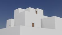 Minimal buildings traditional mediterrenian style architecture. 3d render
