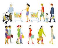 People shopping, isolated on white illustration