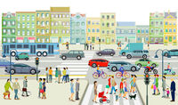 Road traffic with people on the sidewalk illustration