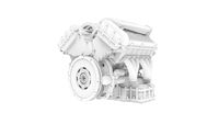 3D rendering of an engine technical components isolated on white background