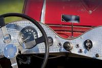Car dashboard and steering wheel