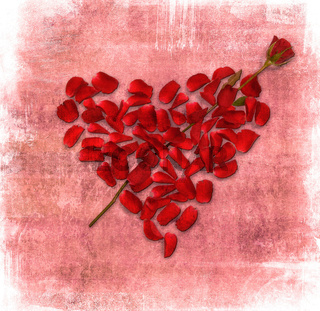 grunge background with heart made od rose petals