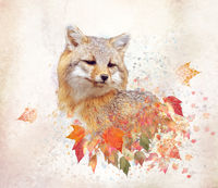 Red fox with autumn leaves, watercolor
