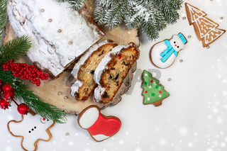 Christmas stollen and gingerbread.
