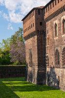 Old medieval Sforzesco Castle details close up