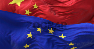 The flags of the European Union and China waving