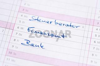 Kalendereinträge zu Finanzen