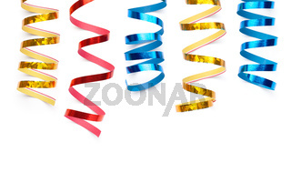 Colorful Curly Ribbons Isolated Over White Background
