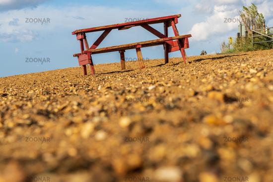 A bench on Heacham South Beach, Norfolk, England