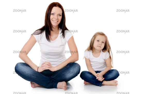 Mum with a daughter isolated on white