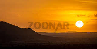The Sun rises over Spitzkoppe in Namibia