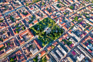 Bjelovar city center and central square aerial view