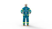 3D rendering of a hard hat worker with protective clothes uniform from front side and back isolated on white.