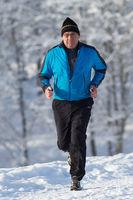 Senior jogging in winter