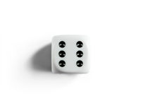 Number 6 on clean dice. Top view. White background.