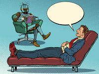 A robot psychotherapist at a psychotherapy session with a patient, laughs and listens to a businessman, sits in a chair and makes notes in a notebook