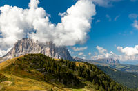 View from Gardena pass to Langkofel mountain and Seiser Alm, South Tyrol