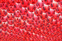 Chinese red lantern in temple