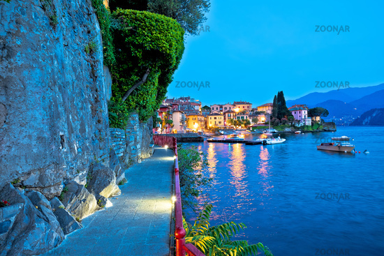 Town of Varenna scenic lakeside walkway evening view, Como lake
