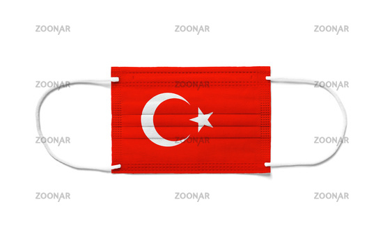 Flag of Turkey on a disposable surgical mask. White background