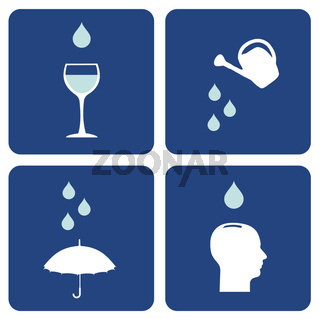 Water care icons composition