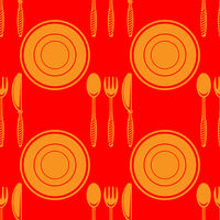 Food Seamless Pattern for Cafe. Fork Spoon Knife Logo Design Isolated on Red Background