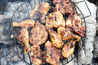 Grilled barbecue (chicken and pork) on outdoor