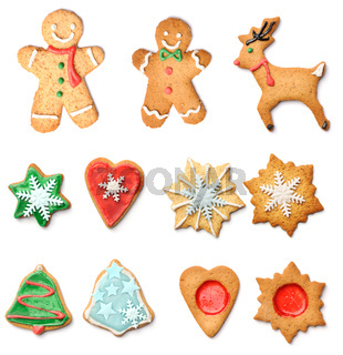 Christmas gingerbread cookies collection set
