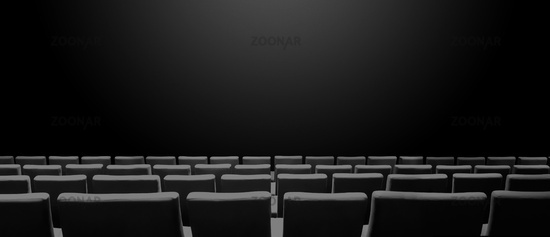 Cinema movie theatre with seats rows and a black background. Horizontal banner