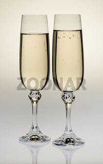 Wine glass with a champagne