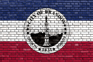 flag of Brandon, Mississippi painted on brick wall