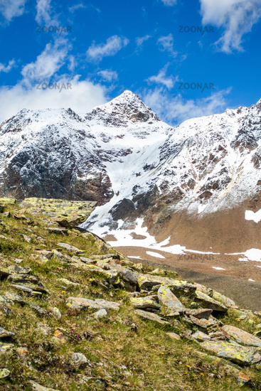 The snow-covered Wildspitze (3768 m) in summer, the highest mountain in the Ötztal, Austria