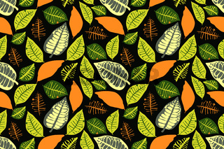 Vector floral seamless pattern with colorful leaves. Green, orange color leaves