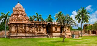 Gangaikonda Cholapuram Temple. Great architecture of Hindu Temple dedicated to Shiva. South India, Tamil Nadu, Thanjavur (Trichy). Six vertical images panorama