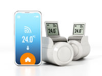 Smartphone and thermostatic radiator valves with LCD screen. 3D illustration