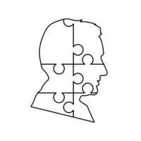 Black detailed mans face profile made up by six puzzles pieces on white