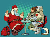 Santa Claus is on a date with a female astronaut. Restaurant or cafe. Christmas holidays