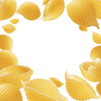 Italian pasta in the shape of a heart on a white background